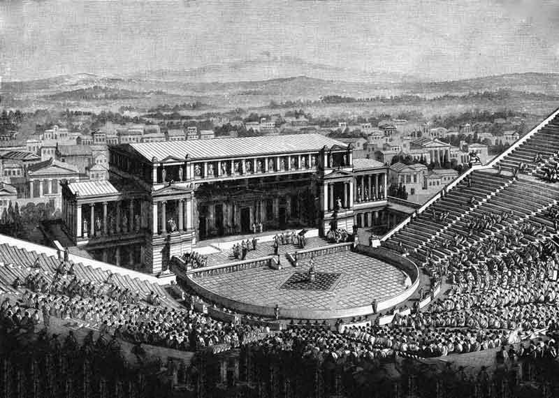 Demóstenes habla en auditorio